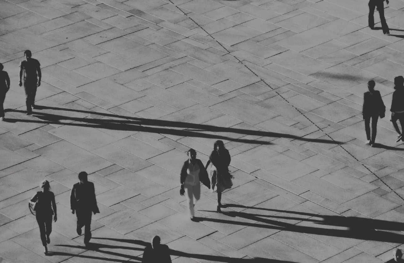 People walking in square