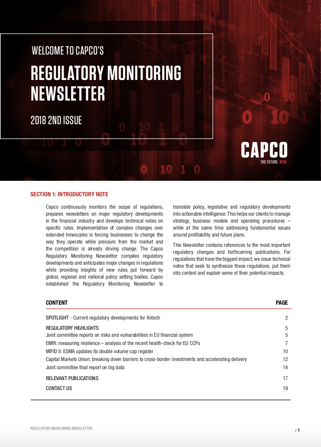 Capco's Regulatory Monitoring Newsletter Issue 2 2018 Front Cover